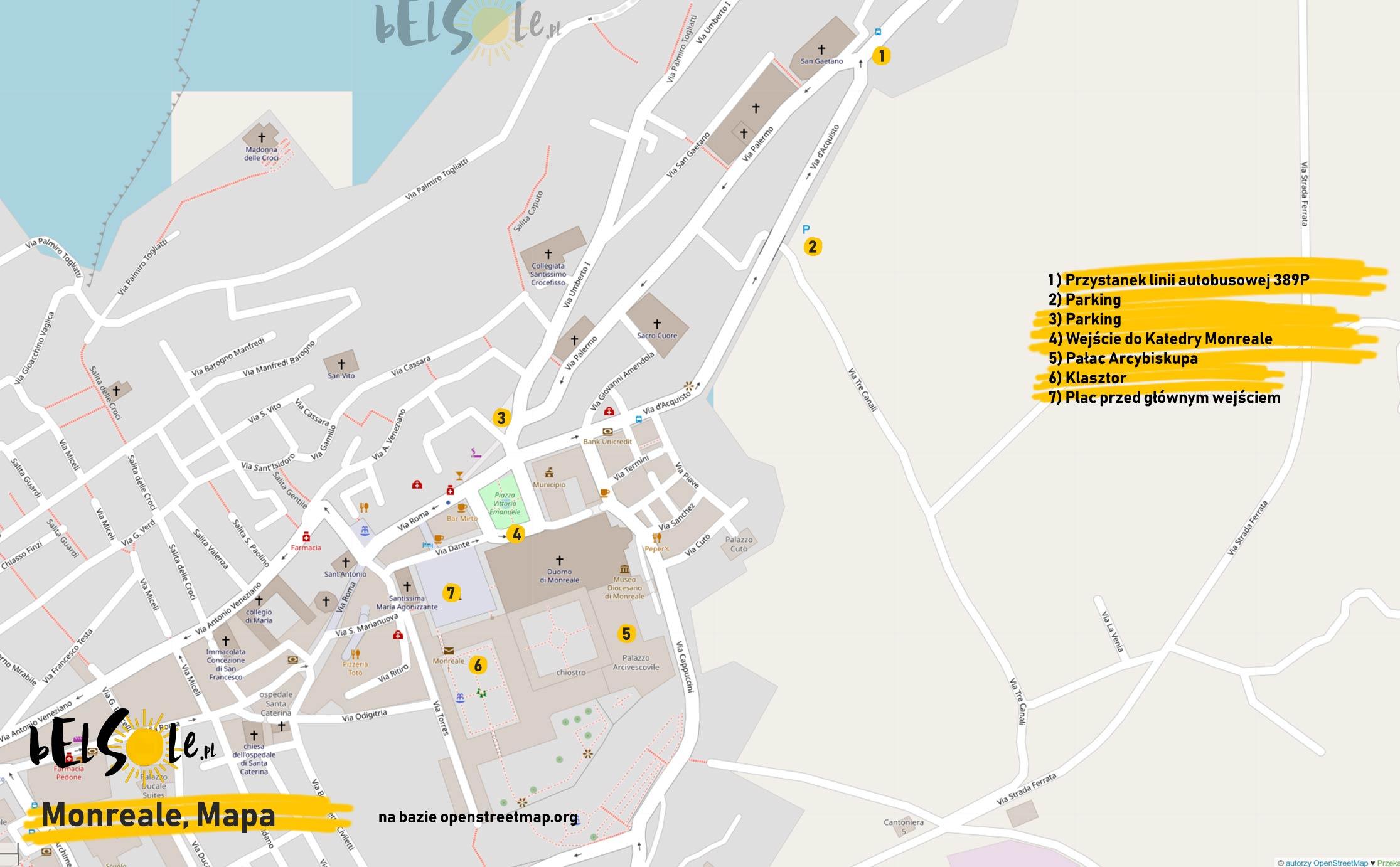 Mapa Monreale, dojazd do katedry
