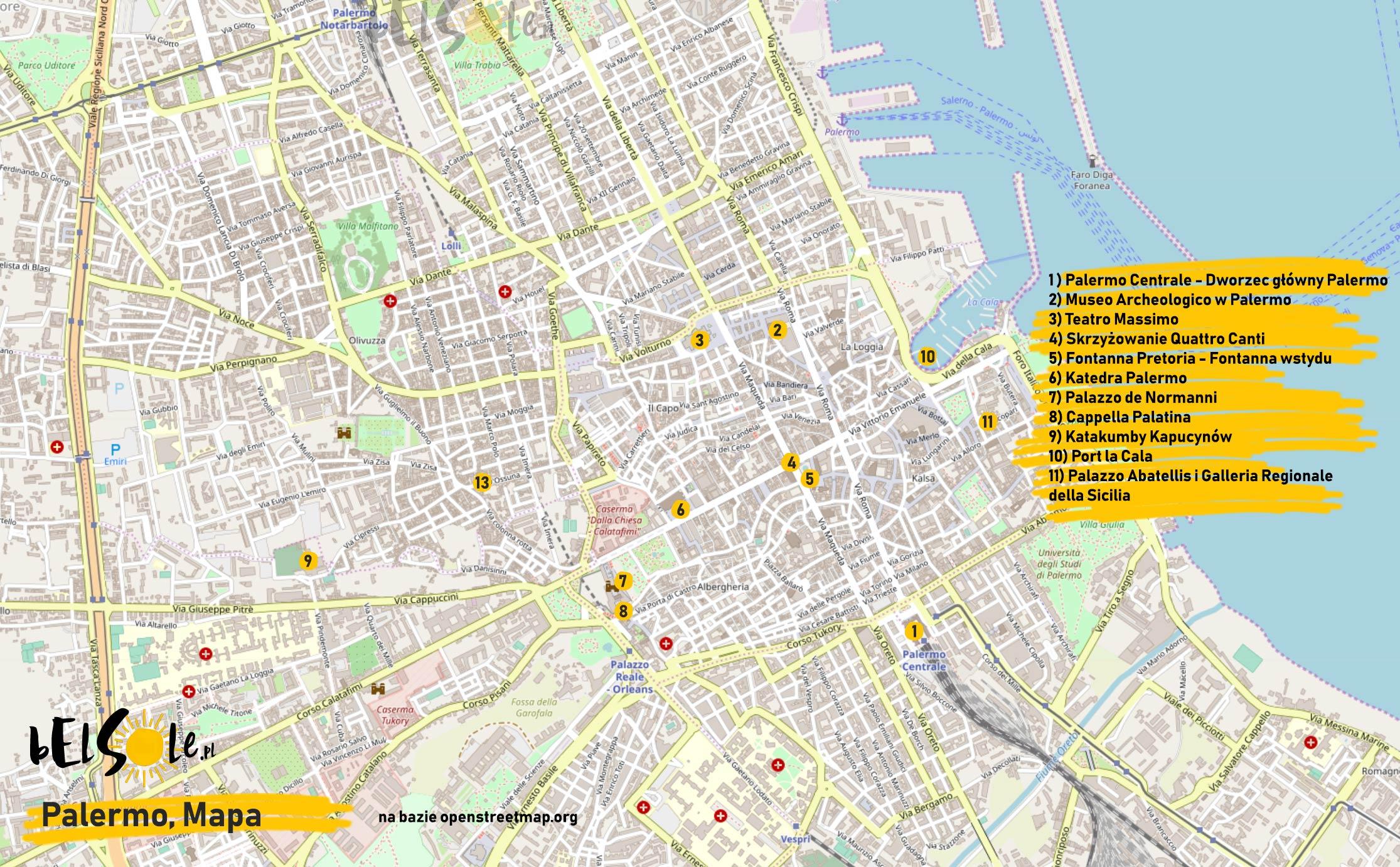 Mapa atrakcji Palermo
