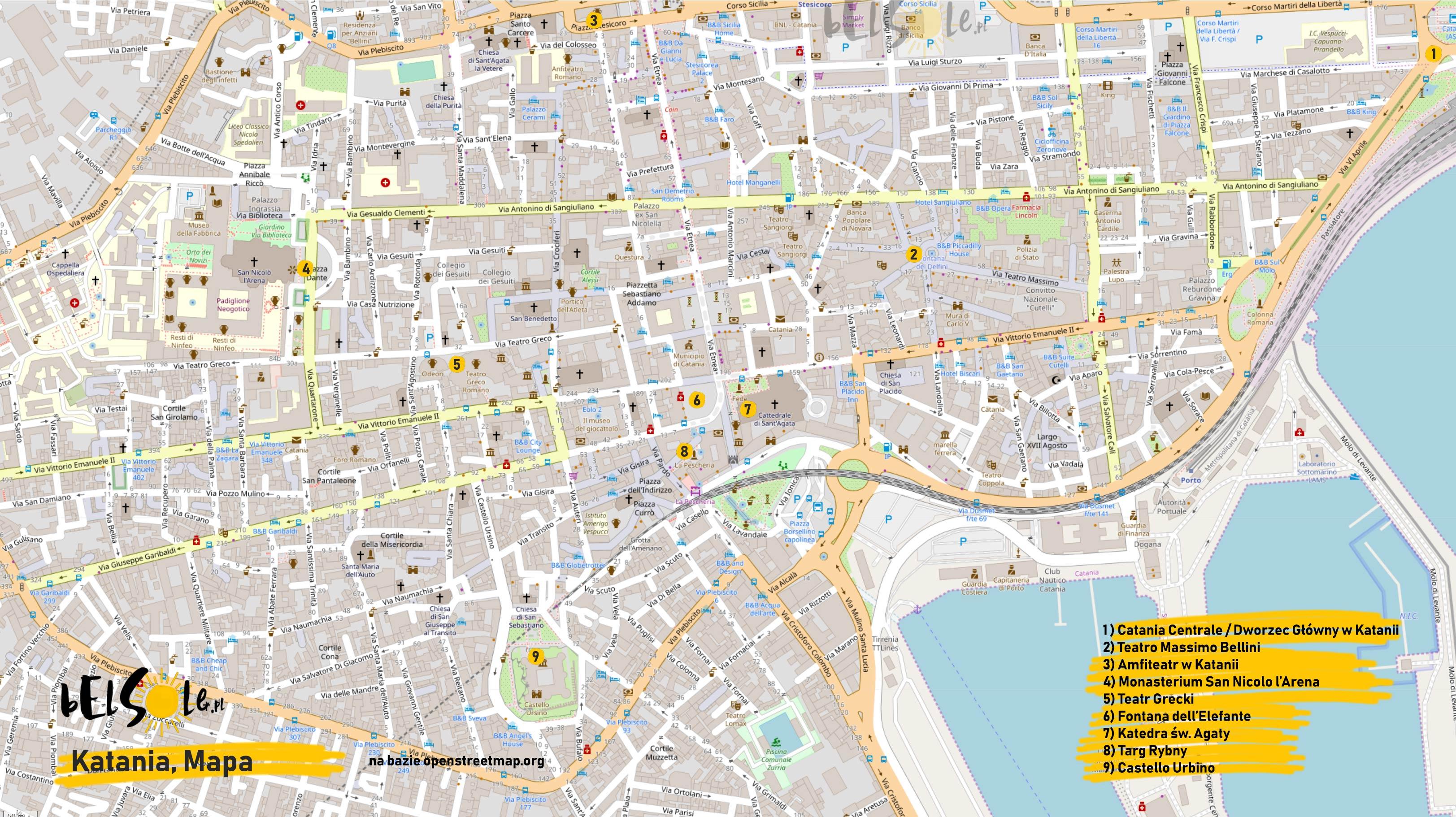 Mapa atrakcji Katanii