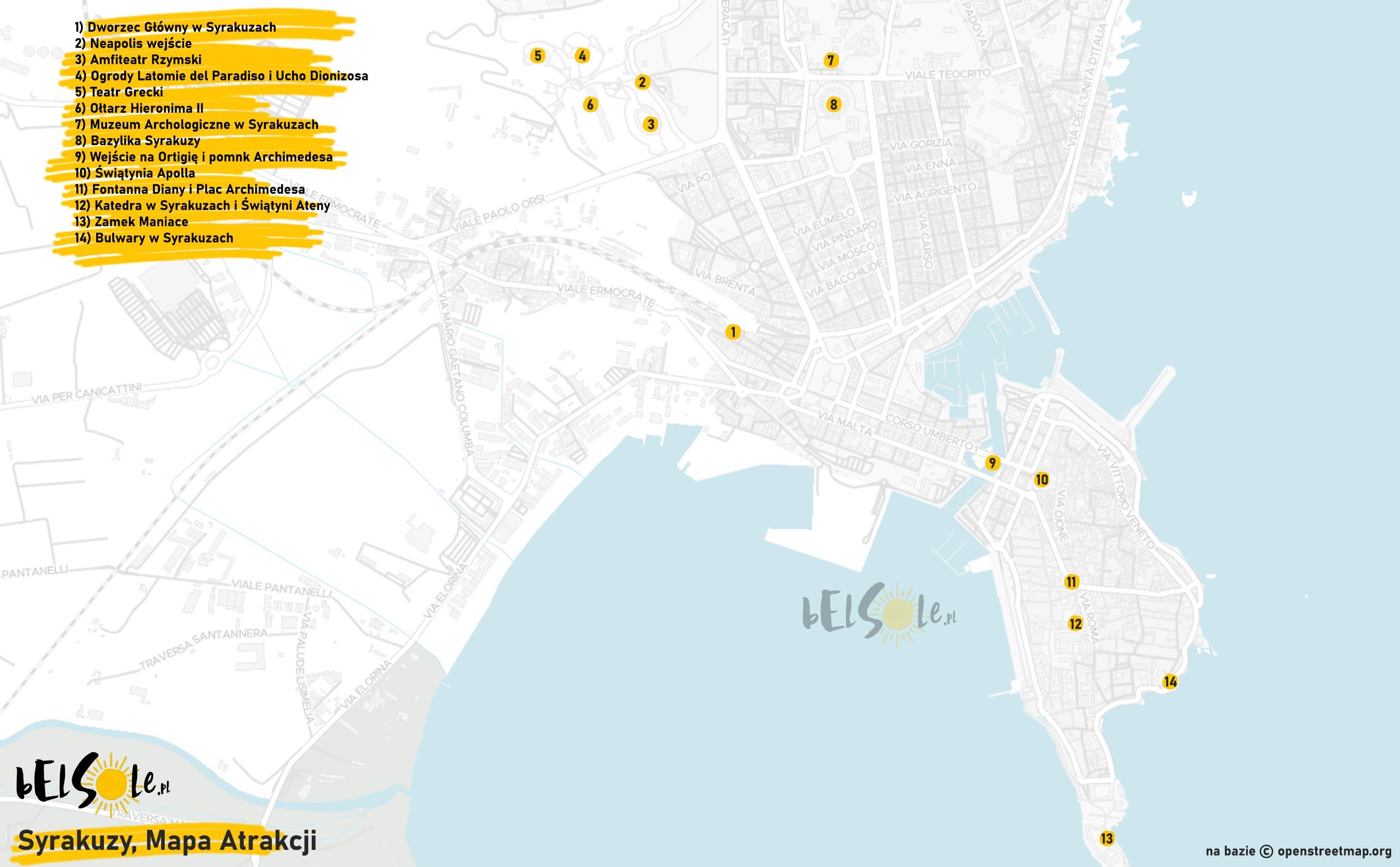 atrakcje syrakuzy mapa