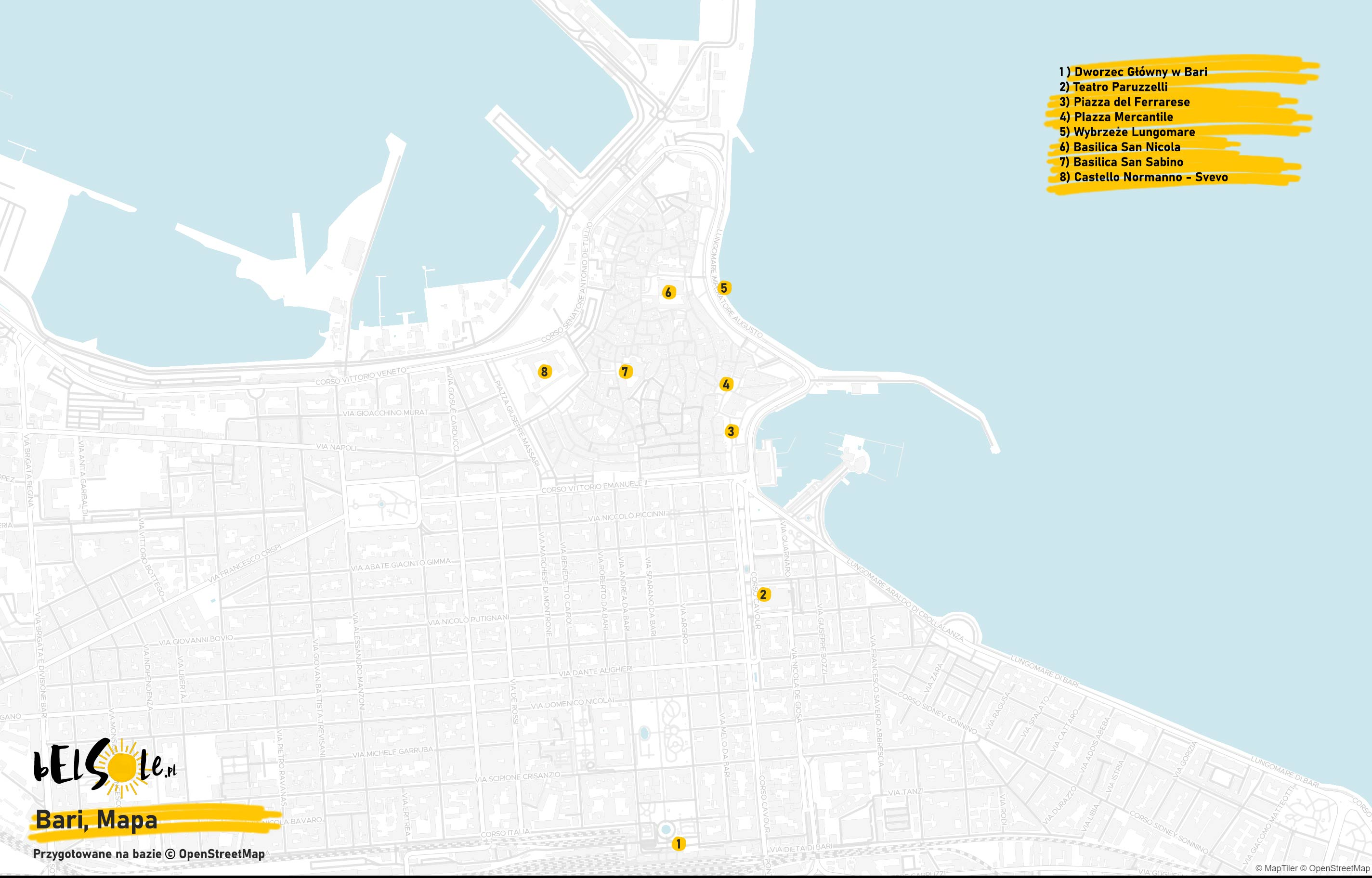 Mapa atrakcji w Bari