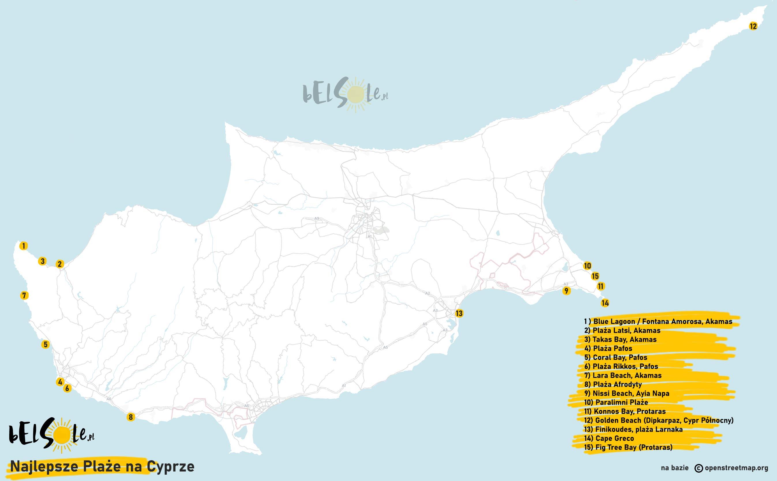 plaze cypru mapa