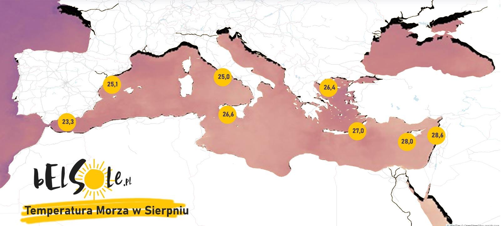 temperatura morze srodziemne sierpień