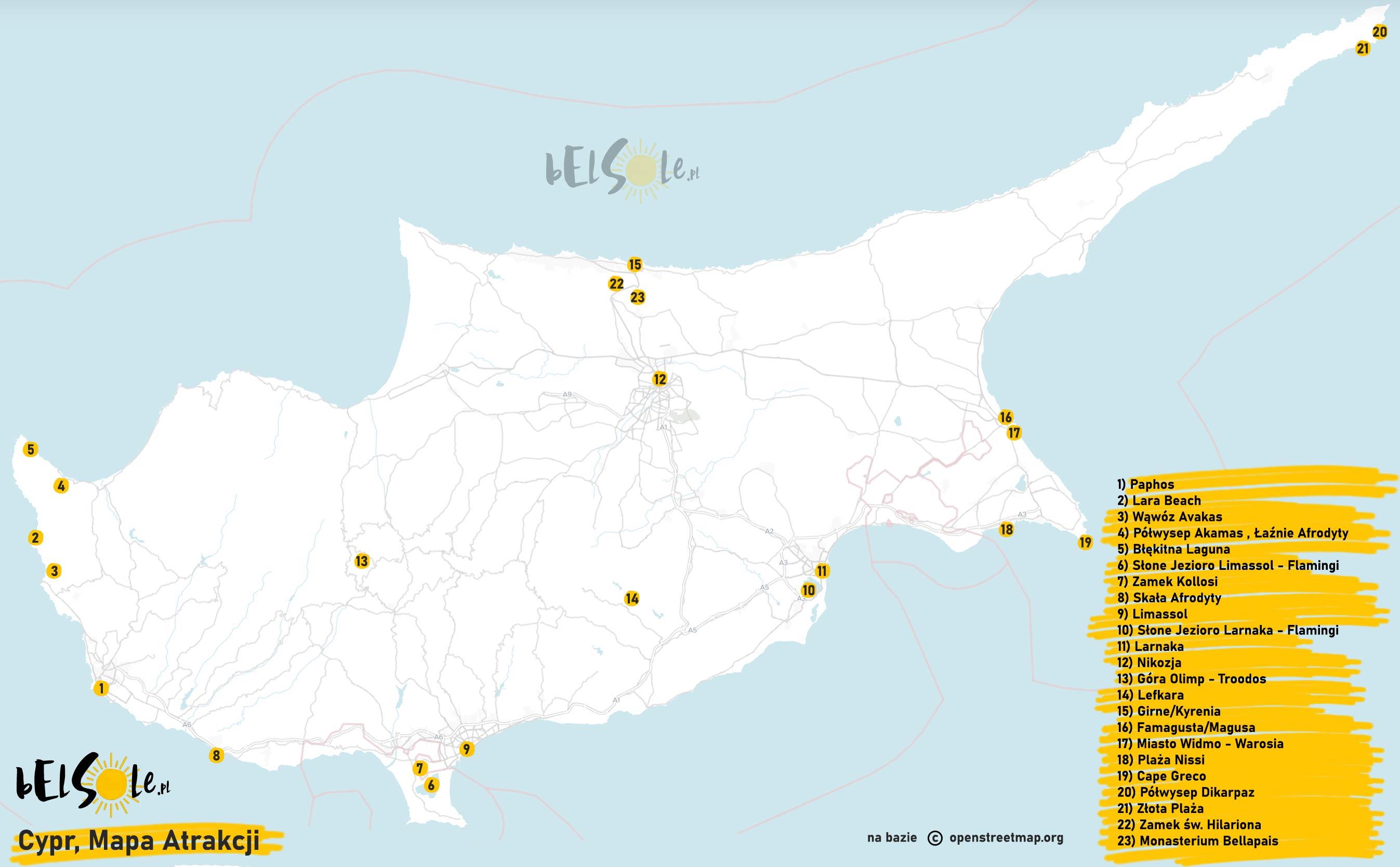 cypr mapa atrakcji