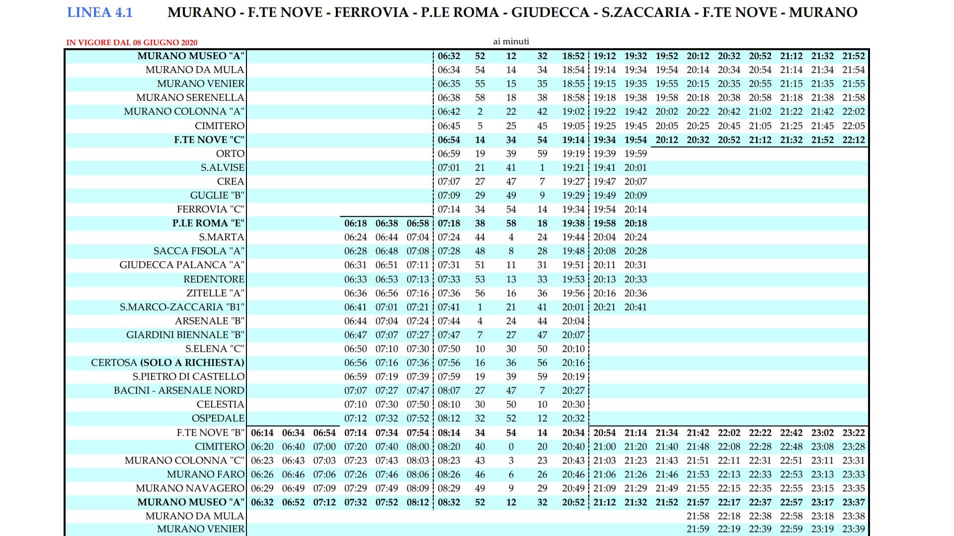 Rozkład Tramwajów wodnych 4.1 z Wenecji na Murano