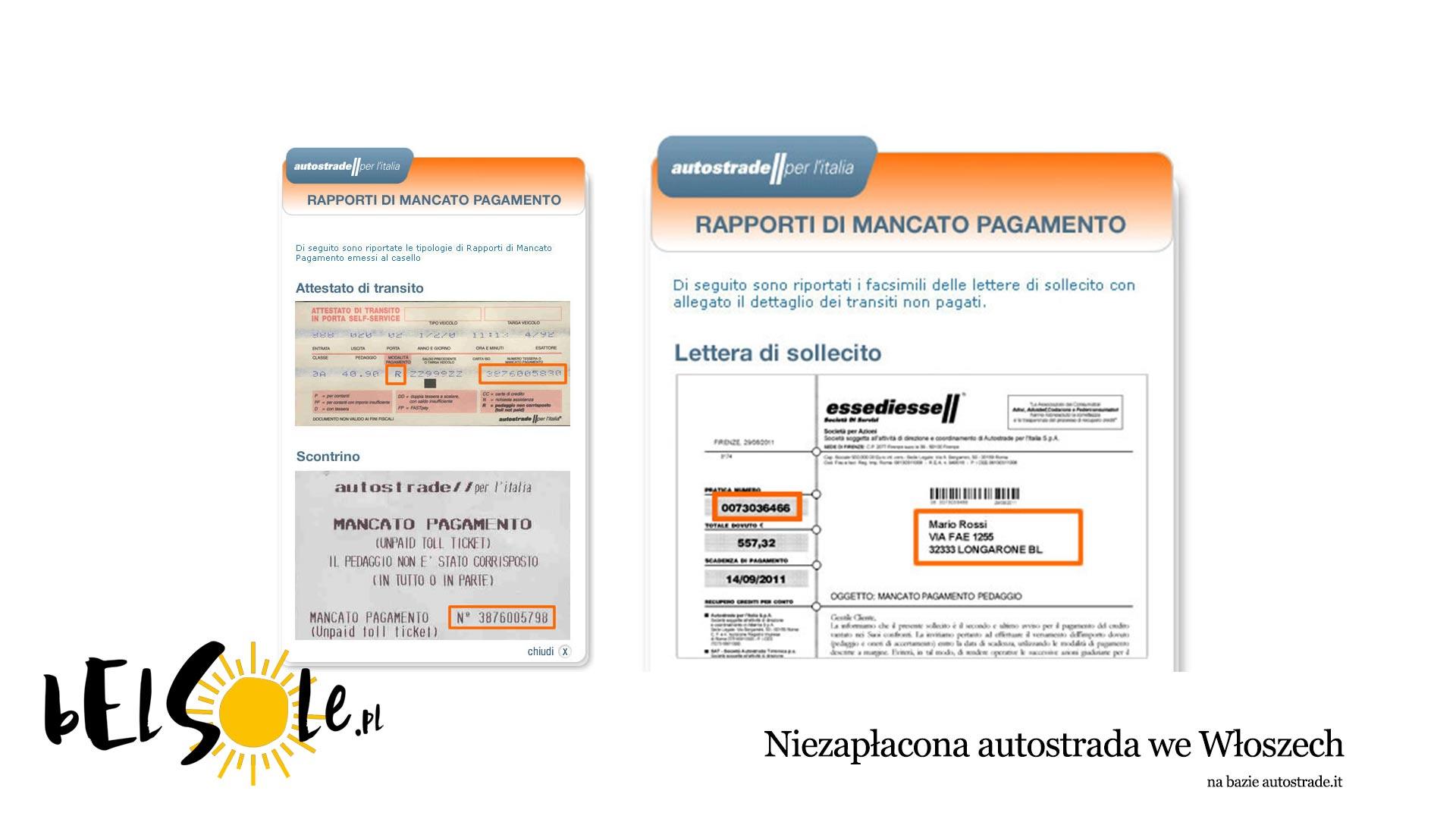 niezapłacona autostrada we Włoszech