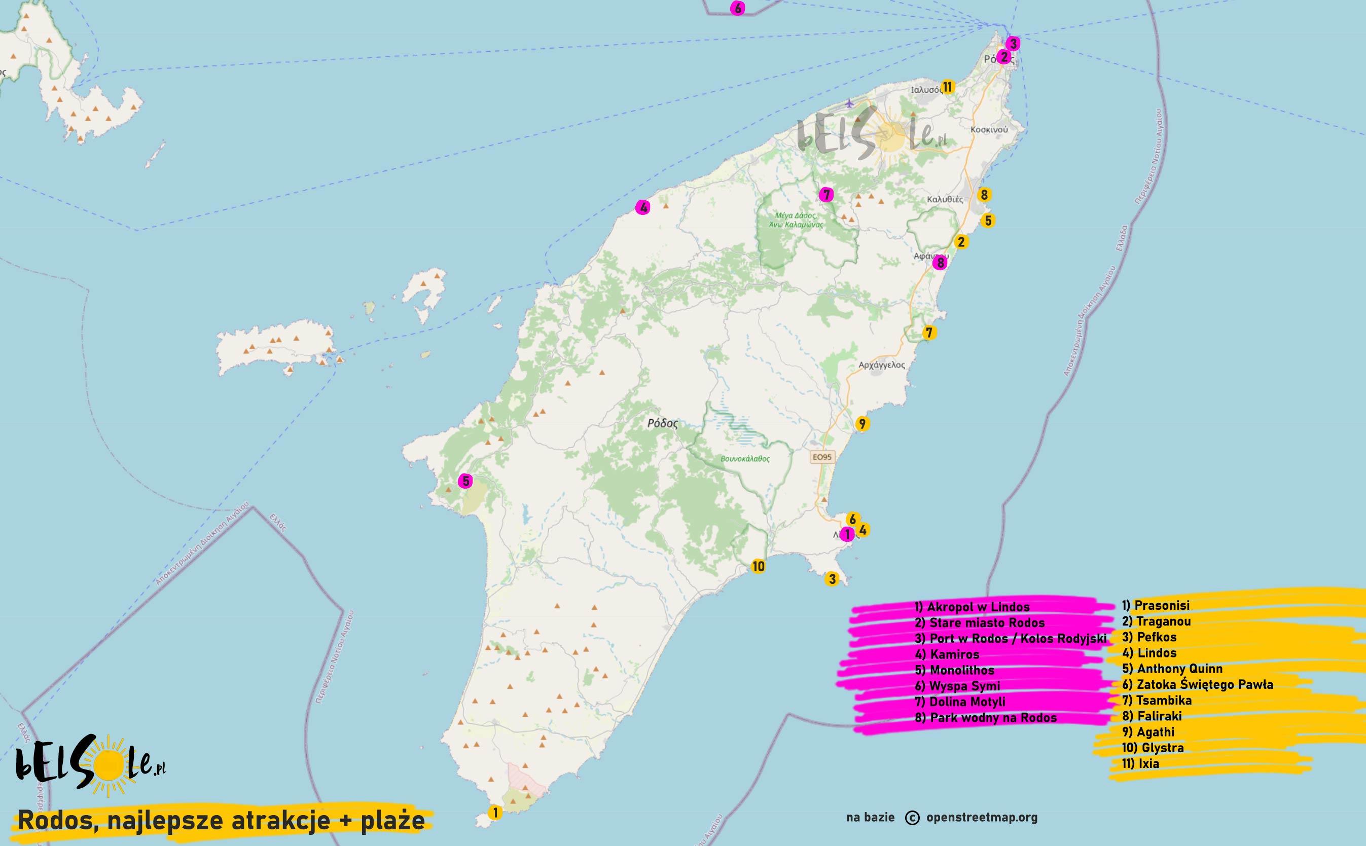 atrakcje Rodos mapa