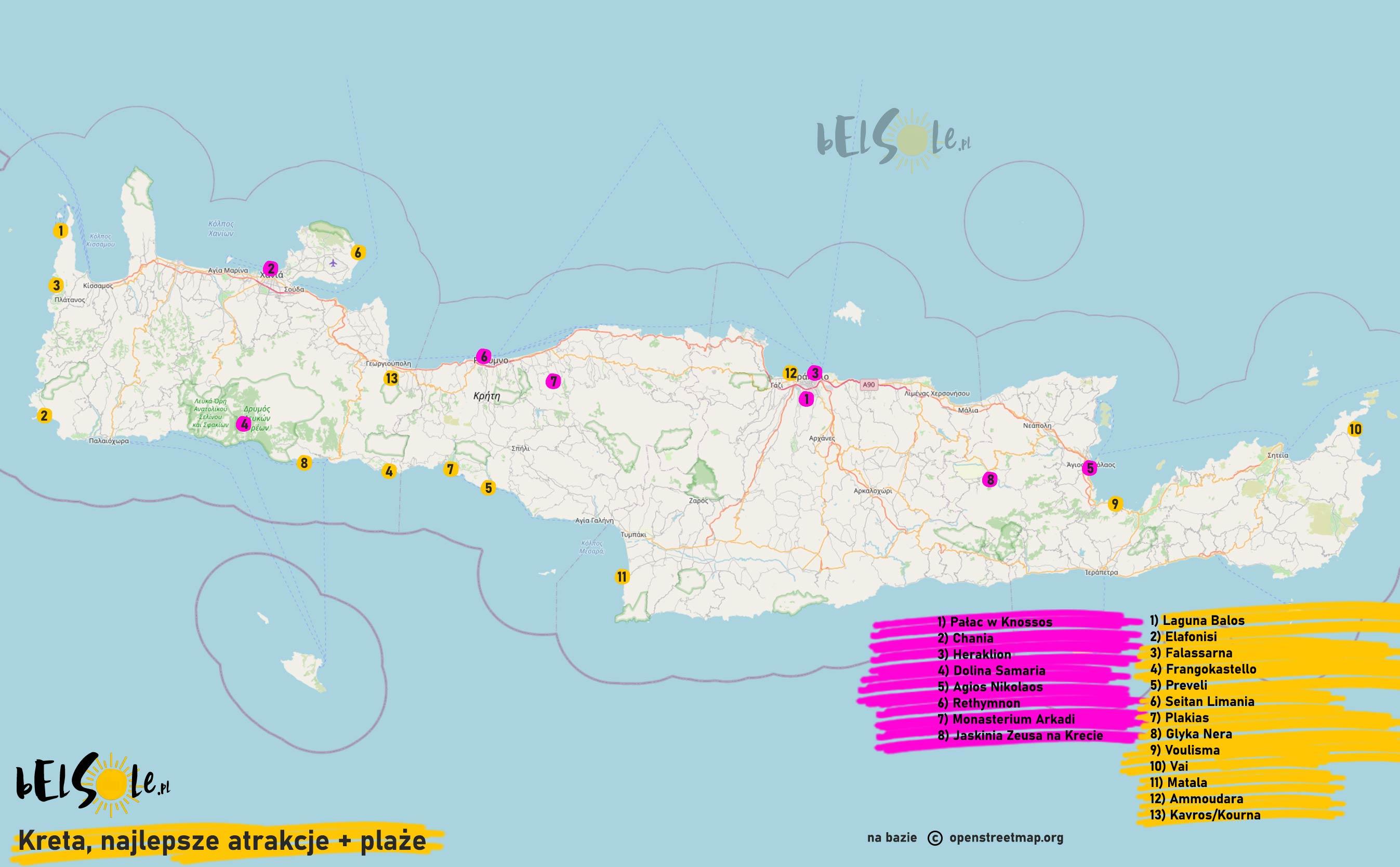 Kreta atrakcje mapa