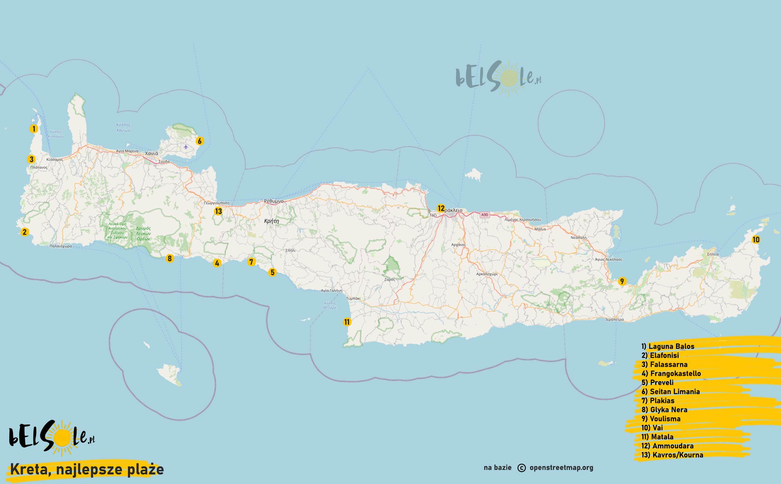 mapa najlepszych plaż na Krecie