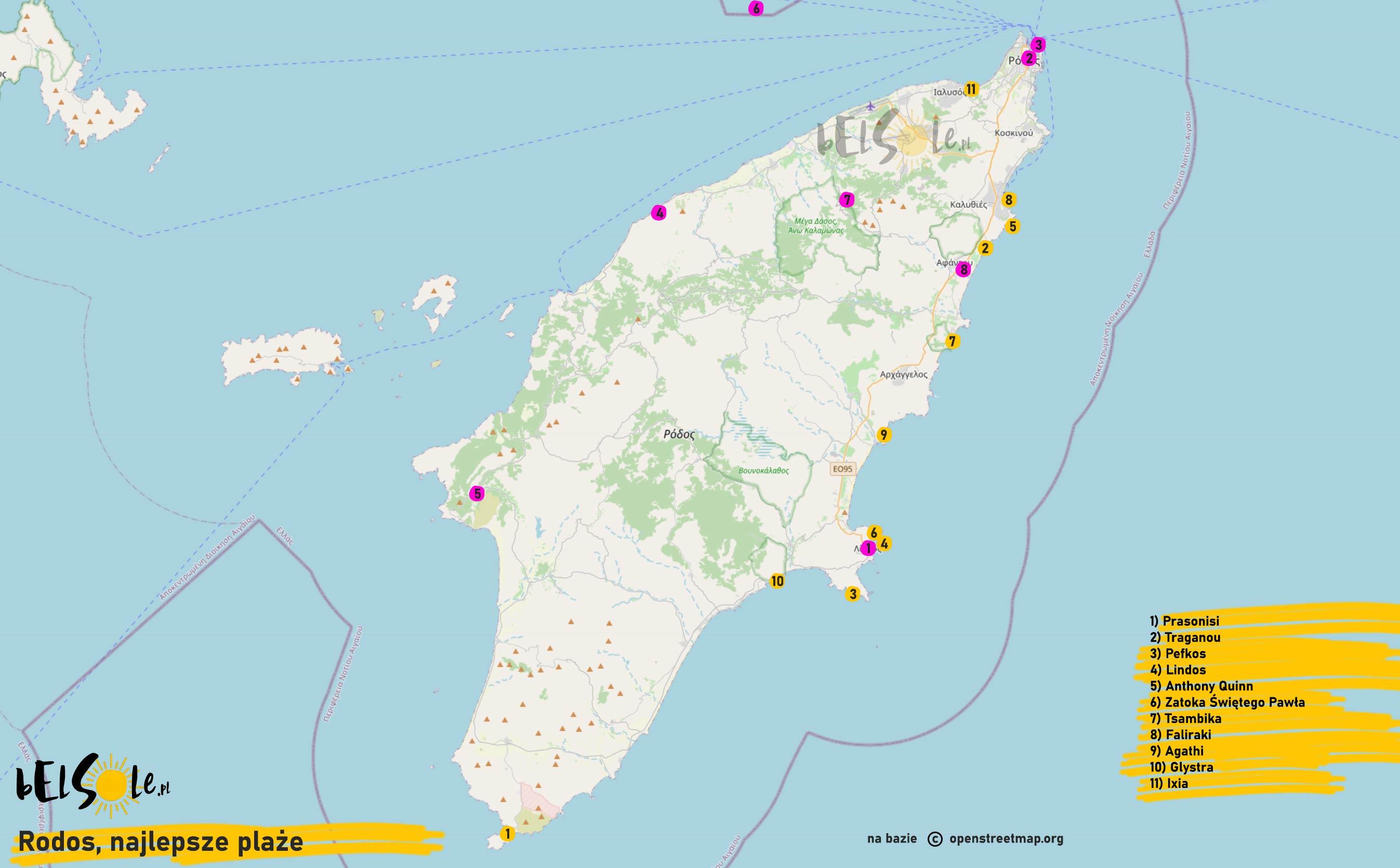 Mapa plaż na Rodos