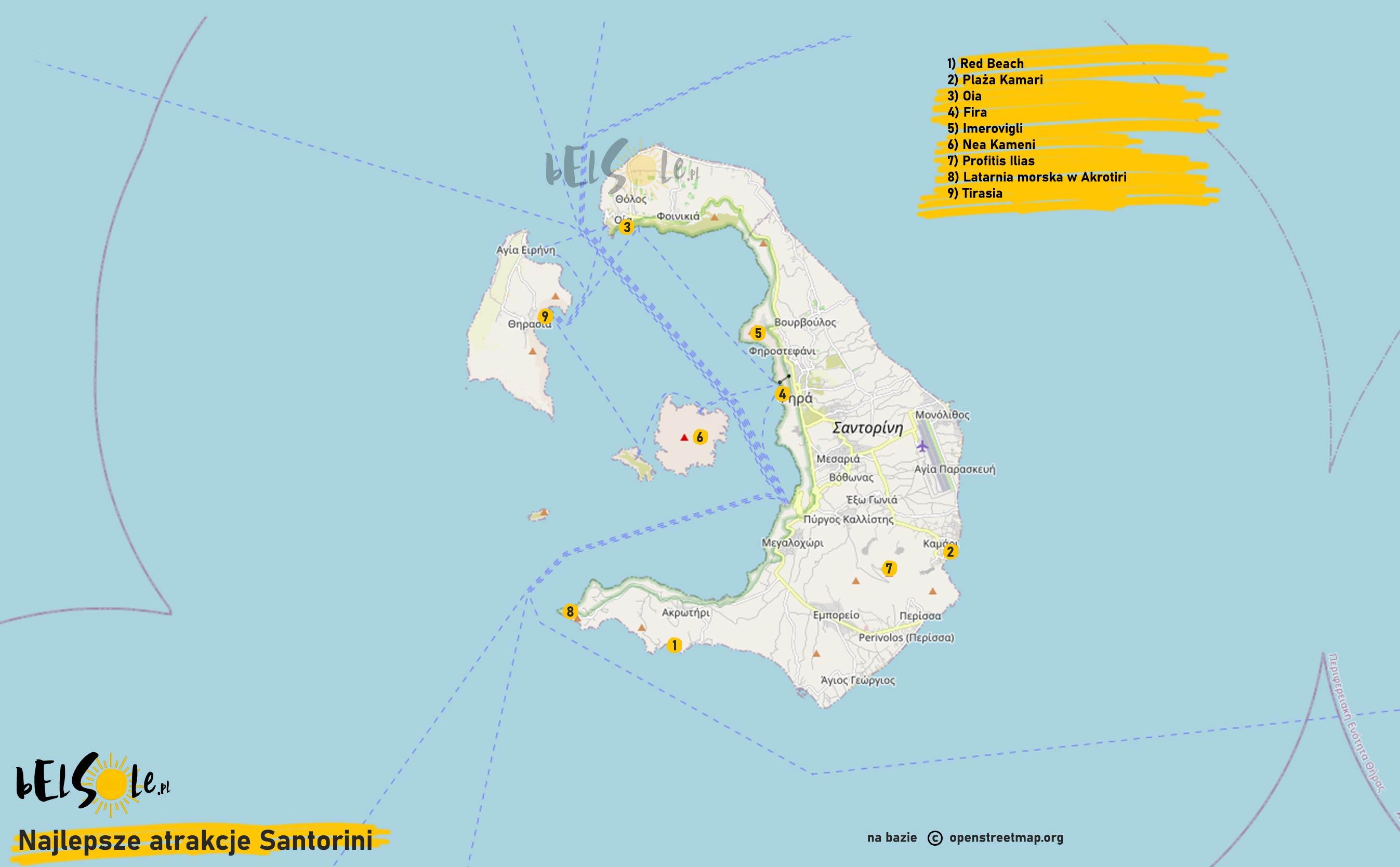 najlepsze atrakcje Santorini mapa